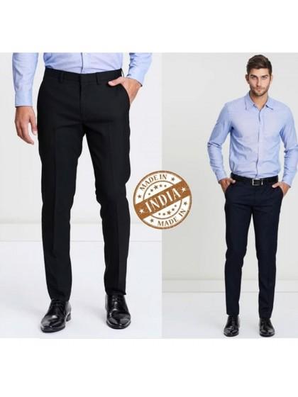 Combo  Colour Blues Elite Mens Trouser - Set of 2 Trousers (Black & Navy Blue)